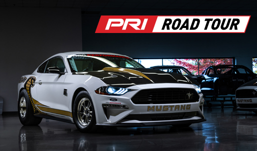 PRI Road Tour logo, Ford Mustange