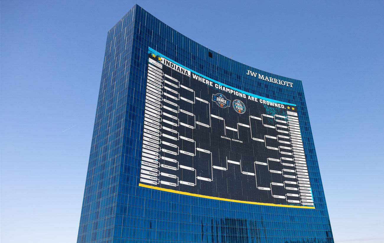 JW Marriot in downtown Indy with March Madness bracket