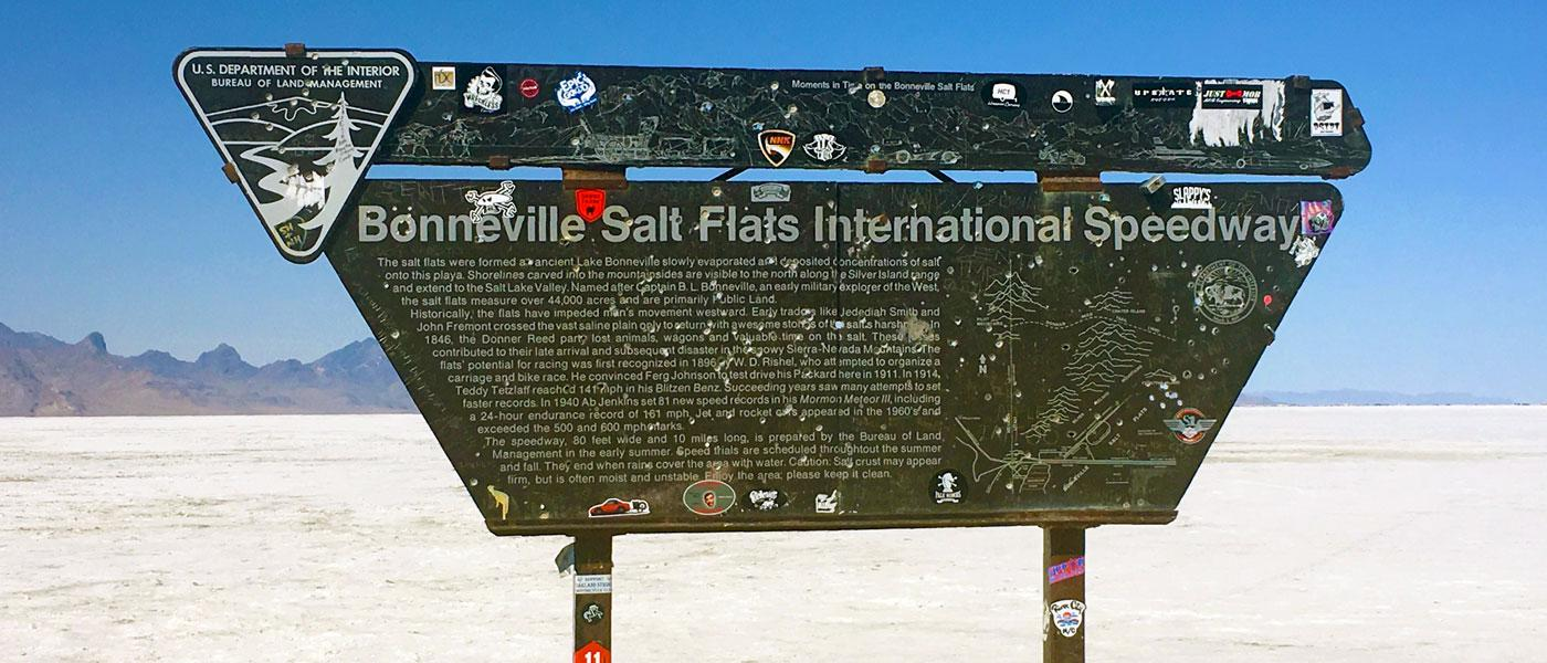 Bonneville Salt Flats International Speedway sign