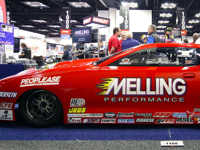 Melling Performance drag race vehicle at the 2019 PRI Trade Show in Indianapolis