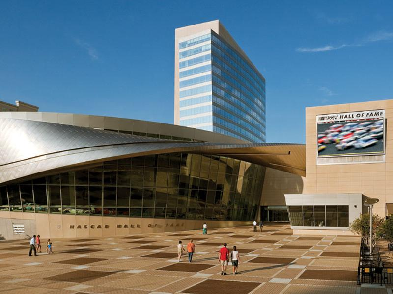 NASCAR Hall of Fame exterior. Photo courtesy of Charlotte Regional Visitors Authority (CRVA)
