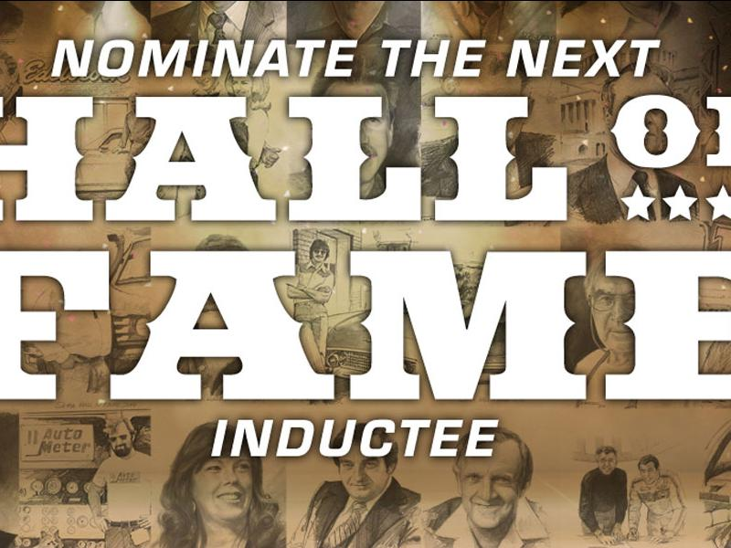 """Nominate The Next Hall Of Fame Inductee"" overlaid images of past inductees"
